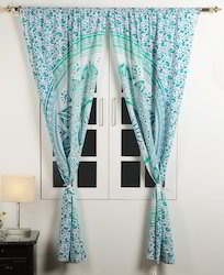 Sea Green Mandala Floral Printed Ombre Window Door Curtains