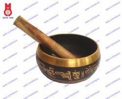 Nepali Singing Bowl Carved Black Patina