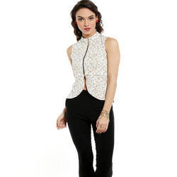 Ira-Soleil-Whiite-Waistline-Jacket-With-Gold-Tinsel-Print