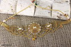 Designer Lcd Stone And Gold Plated Bajuband For Women
