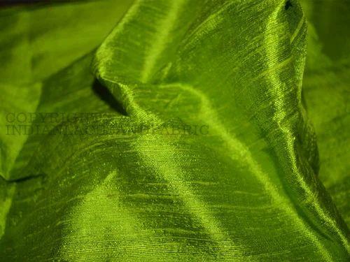 Dupioni Raw Silk Fabrics Spring Green Dupioni Silk Raw
