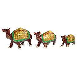Wooden Painted Camel Set