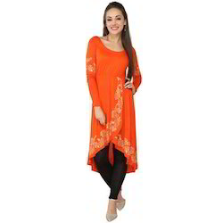 Ira Soleil Orange Printed Viscose Knitted
