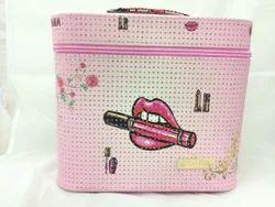 Shamax Printed 1 Tray Big  Cosmetic Bag(Pink)