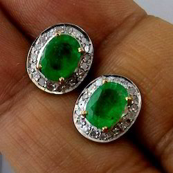 Zambian Emerald Ear Studs