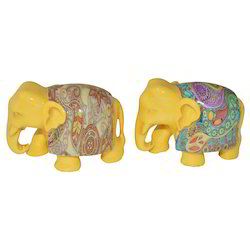 Wooden Elephant With Printing Work