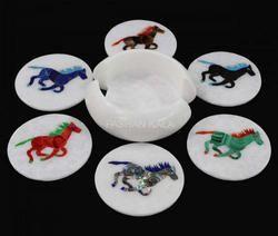 Horse Design Marble Inlay Tea Coaster Set