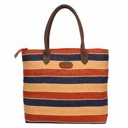 Jute Stripe Tote Bag