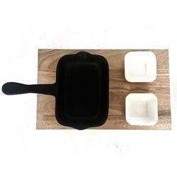 Wooden Platter with Teflon Coated Serving Pan & Chutney Bowl
