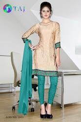 Green and Beige Jacquard Crepe Uniform Salwar Kameez