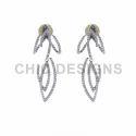 Floral Ear Jacket Pave Diamond Earring