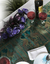 Pine Green Brocade Peacock Printed Table Runner