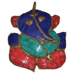 Brass Ganesha With Stone Work