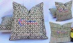 Rug Cushion Cover Hand Block Print Hand- Loom Rug Cushion Cover