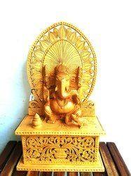 Wooden Sitting Ganesha Statue With Cut Work