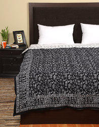 Single Bed Black Elephant Hand Block Printed Cotton Quilt