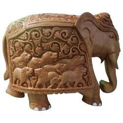 Wooden Elephant With Carving Work