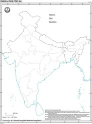 India With States For Desk Outline Map