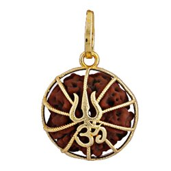 5 Face Original Rudraksha Trishul Om Locket Pendant Golden Color Brass Casting
