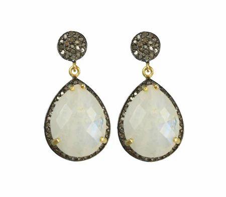 Rainbow Moonstone Diamond Pave Set Earrings
