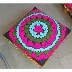Sujani Embroidery Wooden Chowki