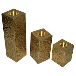Wooden Candle Stand With Brass Work