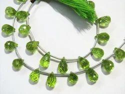 Peridot Faceted Teardrops Semi Precious Stone Beads