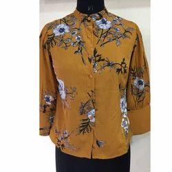 Ladies Yellow Printed Shirt