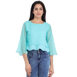 Cottinfab Women's Solid Layered Top
