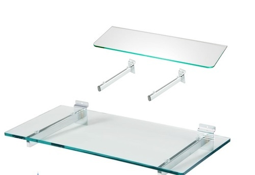 Glass Shelves on Slatwall Panel