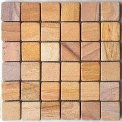 Tumbled Teak sandstone wall cladding mosaic tile