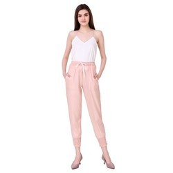 Pink Ankle Smoking Pants For Ladies