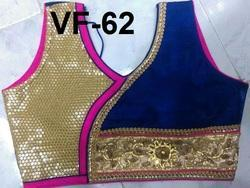 Golden and Blue Embroidered Banglori Silk Stitched Blouse