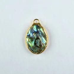 Natural Abalone Gemstone Gold Electroplated Pendant
