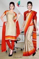 Golden and Red Italian Crepe Uniform Saree Kurti Combo