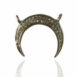 Pave Diamond Moon Charm