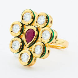Gold Plated Kundan Classic Finger Ring - 40632