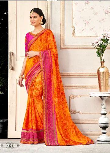 634b45c4a5 Branded Sarees Shop Online - Orange Silk Party Wear Saree Wholesaler ...