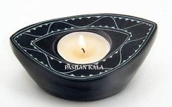 Black Stone Candle Holder