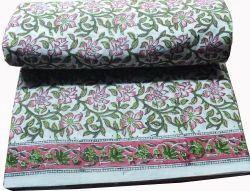 Hand  Block Printed 100 % Cotton Fabric Jaipuri Floral Print