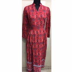 Ladies Red Printed Gown