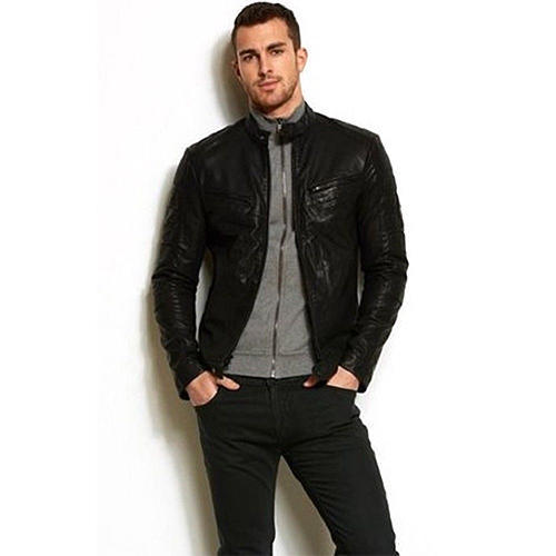 25d225d1cce Mens Leather Jackets 1 - Mens Fitted Black Biker Jacket Front ...
