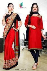 Black and Red Italian Crepe Uniform Saree Kurti Combo