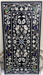 Black Marble Inlay Dining Table Top