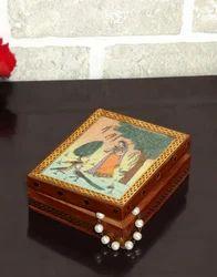 Hand Gemstone Painted Metal Wooden Wedding Gift Jewelry Box