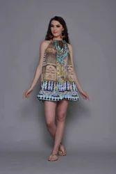 Digital Printed Silk Crepe Beach Wear
