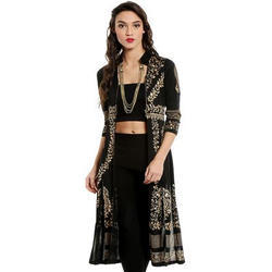 Ira-Soleil-Long-Jacket-Kurta-With-Gold-Tinsel-Print