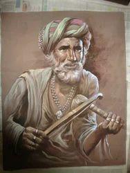 Rajasthani Old Man Silk Painting