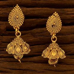 Plain Gold Earring With Export Quality - 15689