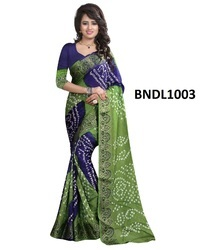 Green Printed Bandhani Saree